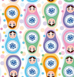Seamless pattern russian dolls blue green purple vector