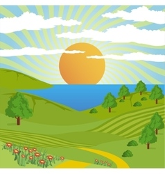 Abstract nature landscape sun sky road vector