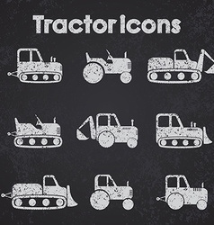 Various tractor and construction machinery icon vector