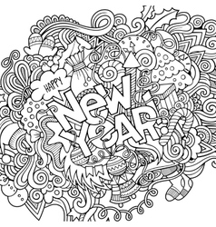 New year hand lettering and doodles elements vector