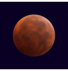 Realistic shining full mars in the dark blue sky vector
