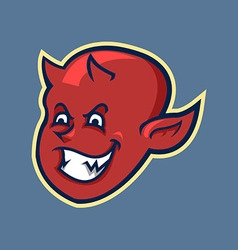Red devil boy head in retro color vector