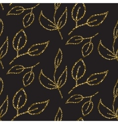 Gold glitter foliage seamless pattern vector