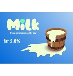 Milk in wooden bucket vector