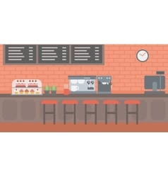 Background of bakery with pastry and coffee maker vector