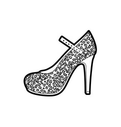 black thick contour of high heel shoe with stain vector image vector image