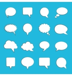 Blank empty white speech bubbles on blue vector image