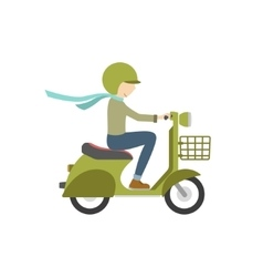 Boy riding on a scooter vector image