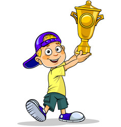 Boy with a trophy vector