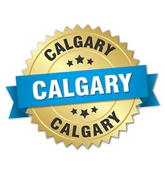 Calgary round golden badge with blue ribbon vector