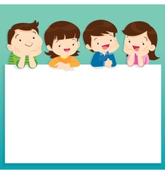 Children post smile on a white board space frame vector