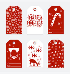 Christmas and new year gift tags cards xmas set vector