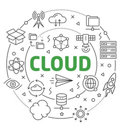 cloud linear slide for the vector image vector image