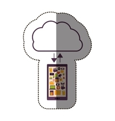 Color sticker with cloud service with apps set vector