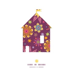 Colorful stars house silhouette pattern frame vector