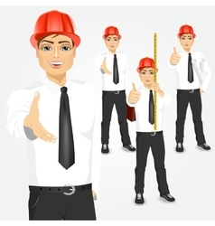 Construction engineer worker builder set vector