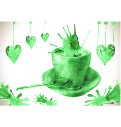 Cup of fresh green tea with tea stain vector
