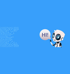 Cute smiling robot chat bot say hi greeting vector