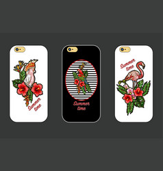 design cover for phone with embroidery patches vector image vector image