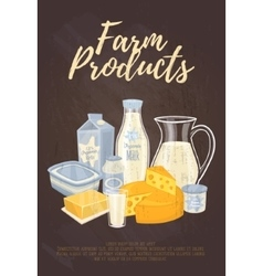 Farm products banner with dairy composition vector image vector image