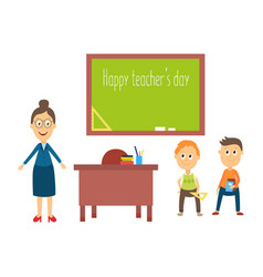 flat cartoon teacher and pupils in vector image