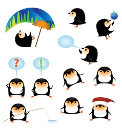 funny cartoon penguins vector image vector image