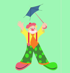 Funny clown with blue umbrella vector