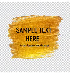 Gold paint glittering textured art on transperent vector
