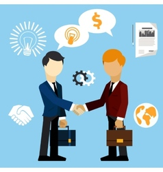 Happy business man make handshake exchange case vector image vector image