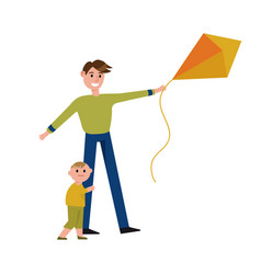 Happy father and his son playing with kite cartoon vector