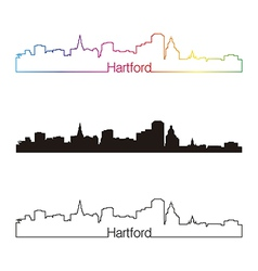 Hartford skyline linear style with rainbow vector image