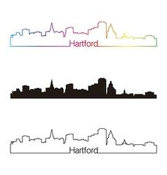 Hartford skyline linear style with rainbow vector