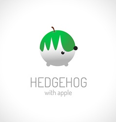 Hedgehog carriyng apple logo template vector image vector image