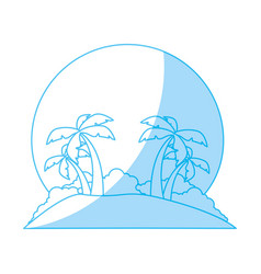 island tree palms vector image