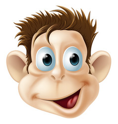 Laughing happy monkey face cartoon vector