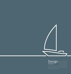 Logo of sailboat in minimal flat style line vector image