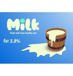 Milk in wooden bucket vector image