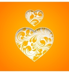 Orange heart simbol vector image vector image
