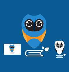 Owl education logo with business card vector