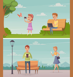 people with gadgets outdoor compositions vector image vector image