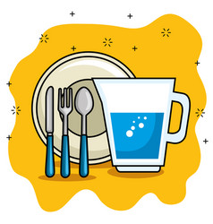 plate and cutlery cartoon vector image