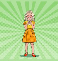 pop art happy girl drinking milk healthy eating vector image vector image