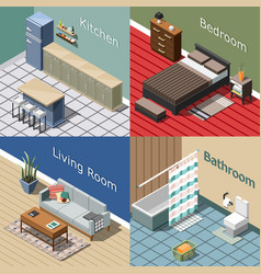 Residential interior isometric concept vector