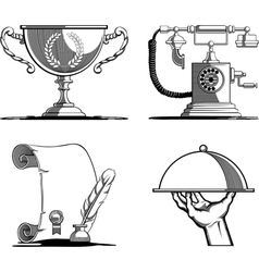 Retro Icons Old Script Telephone Tray Trophy vector image vector image