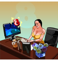 Sexy smiling woman sitting at a desk with a vector image
