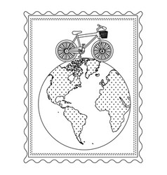 Silhouette frame with bicycle over the world map vector