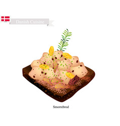 smorrebrod with roast chicken the national dish o vector image vector image