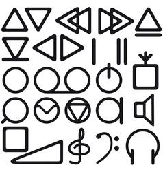 Tape recorder symbols vector image vector image