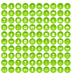 100 home icons set green vector