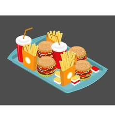 Fast food big set many meal on tray frying vector